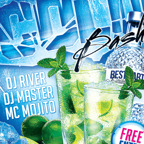 PSD Flyer template - cold winter bash party