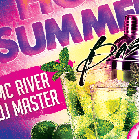 PSD Flyer template - hot summer bash party