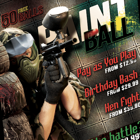 PSD Flyer template - Paintball